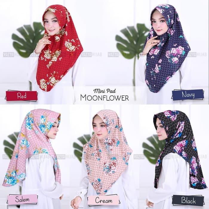 Hijab Minipad Moonflower Terbaru Motif Bunga