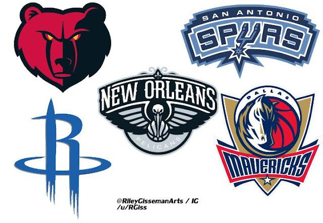 Les logos des équipes de la divison NBA Southwest