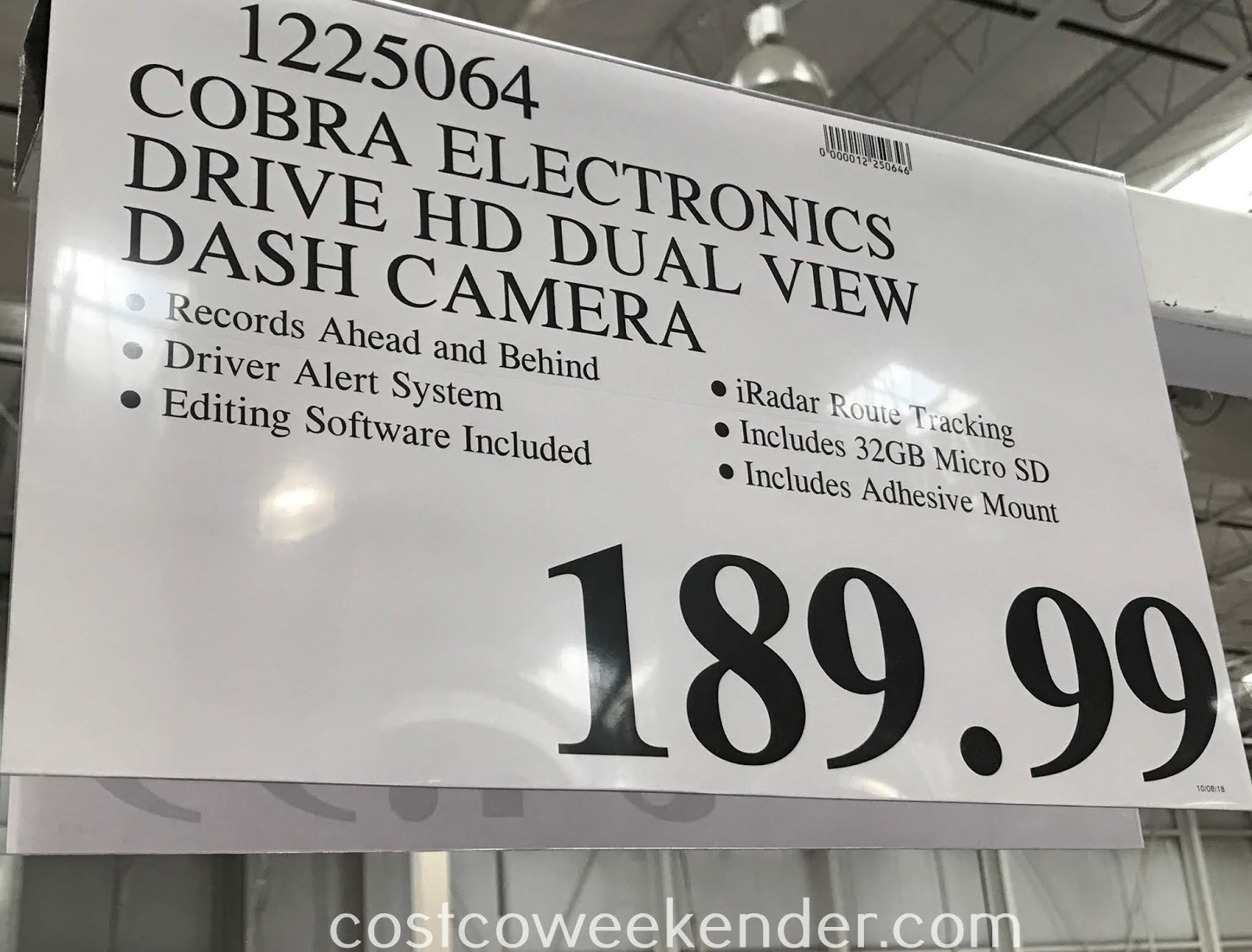 Deal for the Cobra Drive HD Dash Camera Dual View System at Costco