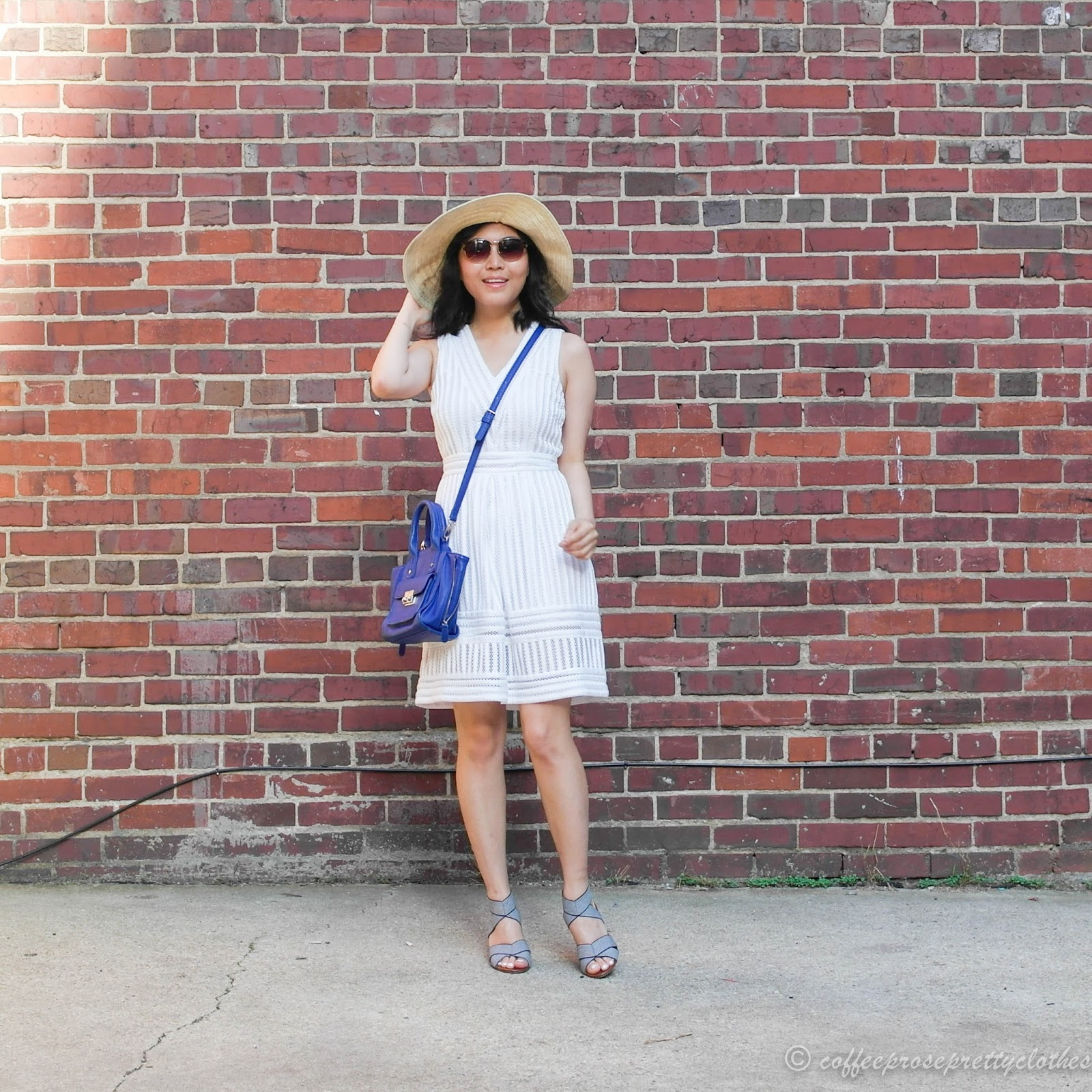 white mesh dress, straw hat, cobalt bag, Sole Society Joesy