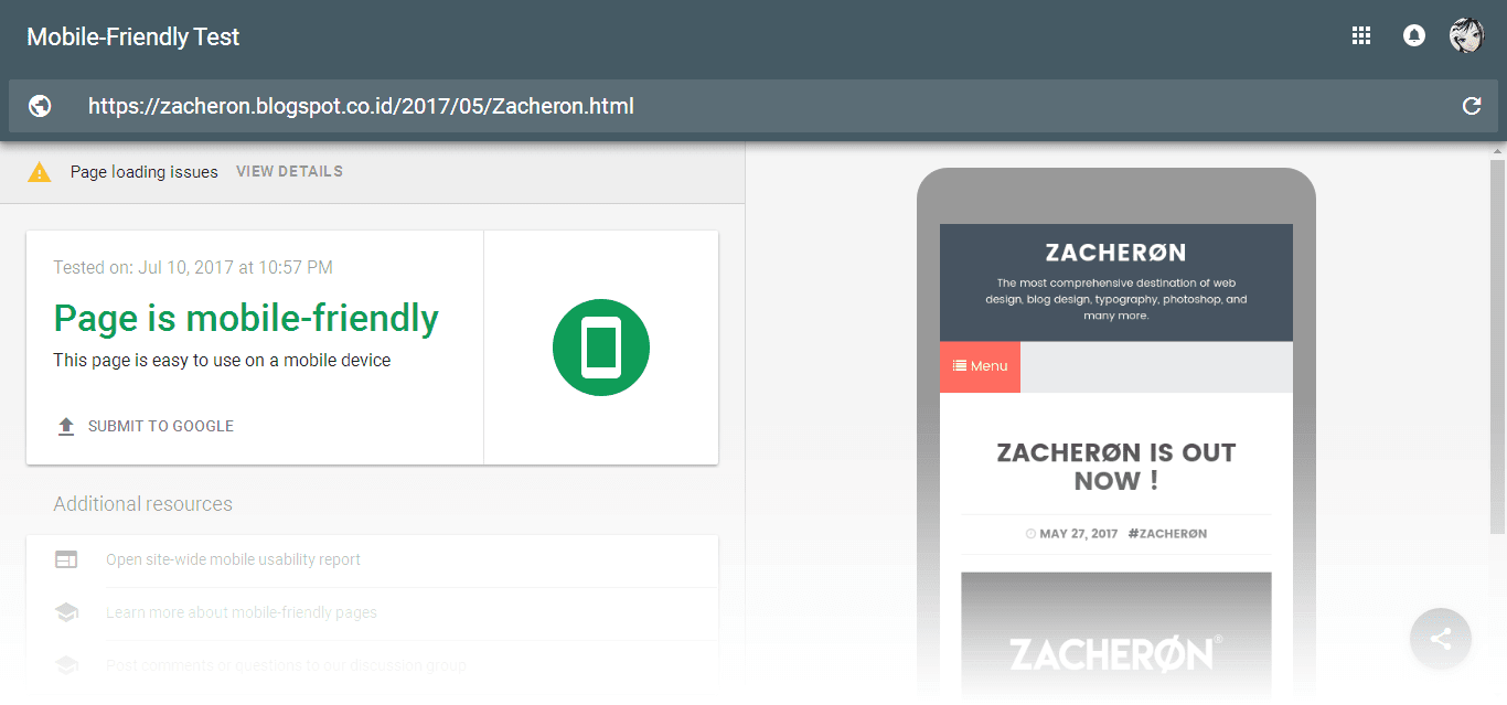 Zacheron Responsive dan Mobile Friendly - Afaea