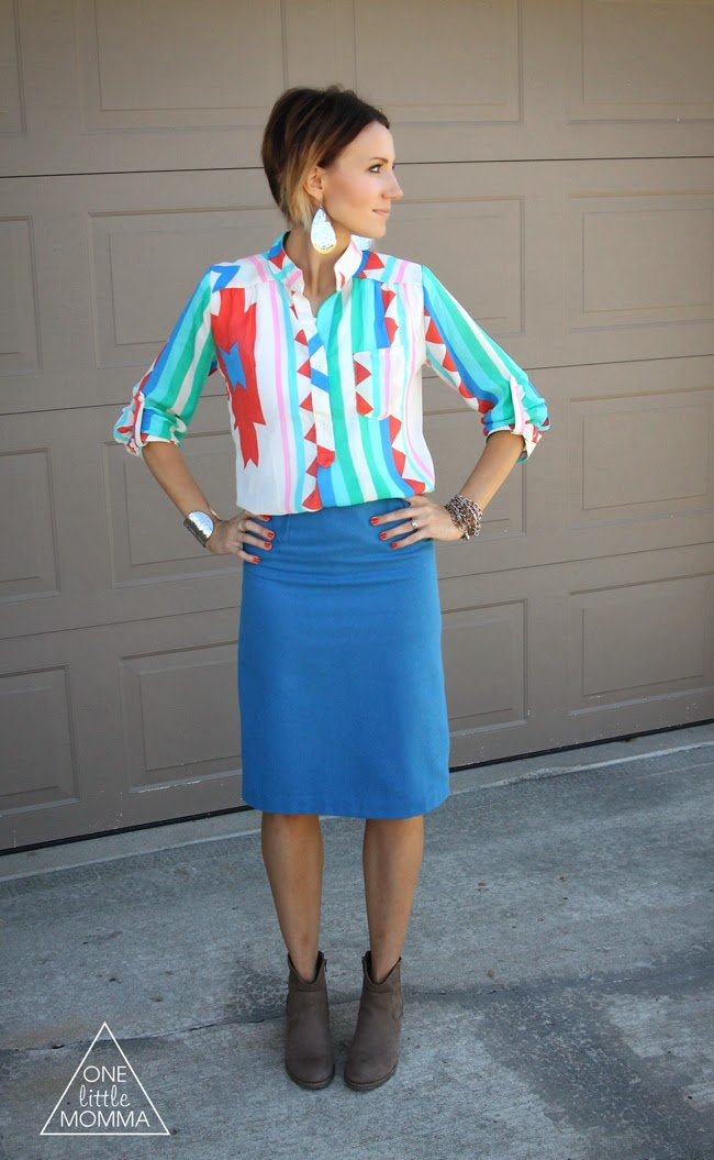 Tribal  blouse, blue pencil skirt, ankle boots from ONE little MOMMA