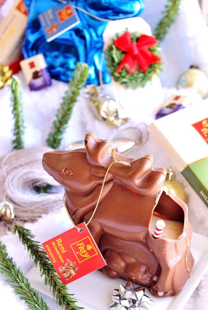 Dazzle your dinner guests and serve your Eggnog cocktails in hollow reindeer from Chocolat Frey®! #FreyHoliday #ChocolatFrey #AD