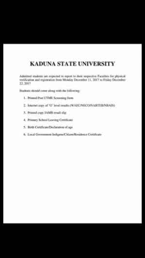 KASU Admission List 2017/2018 Released
