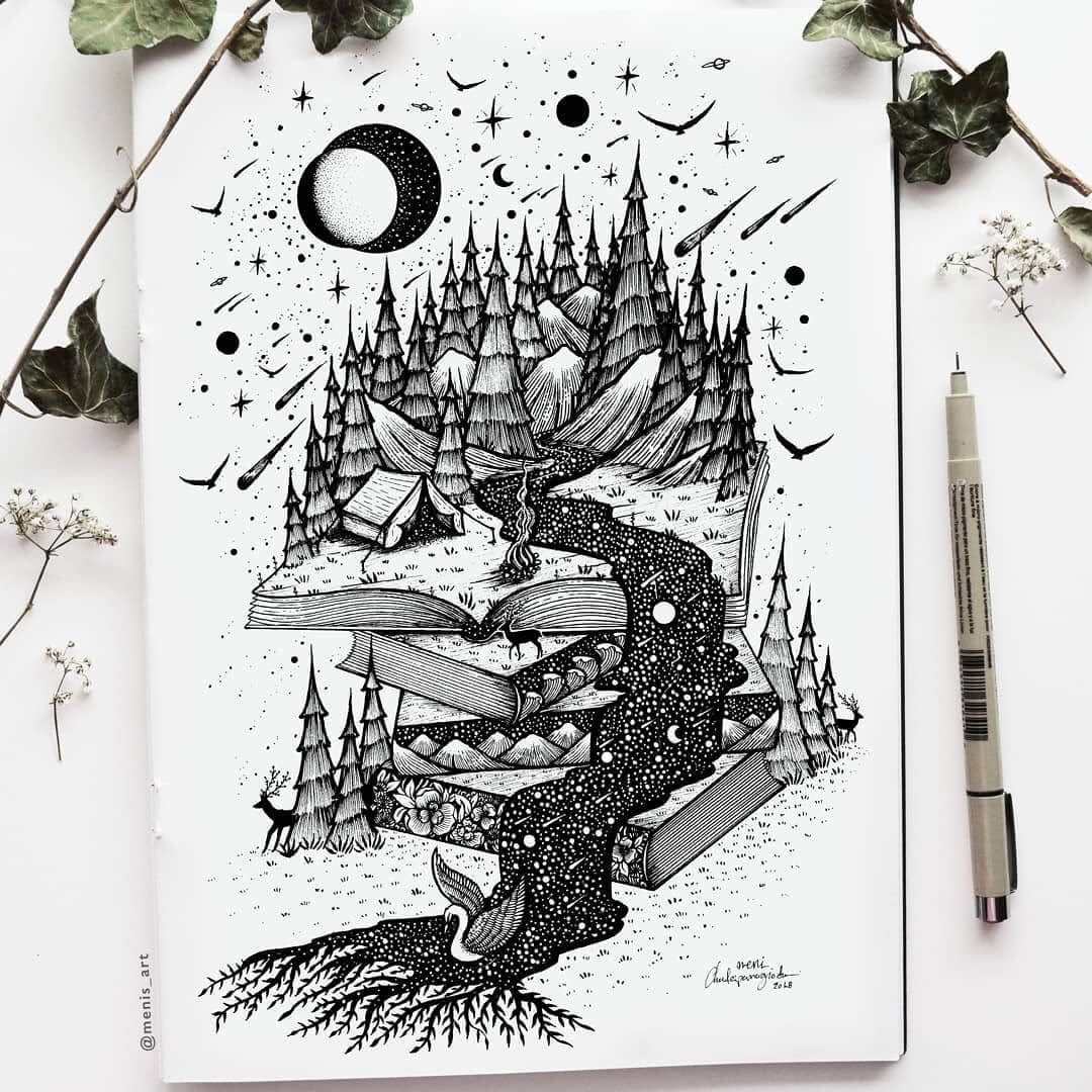 12-Read-M-Chatzipanagiotou-Surreal-Black-and-White-Ink-Drawings-www-designstack-co