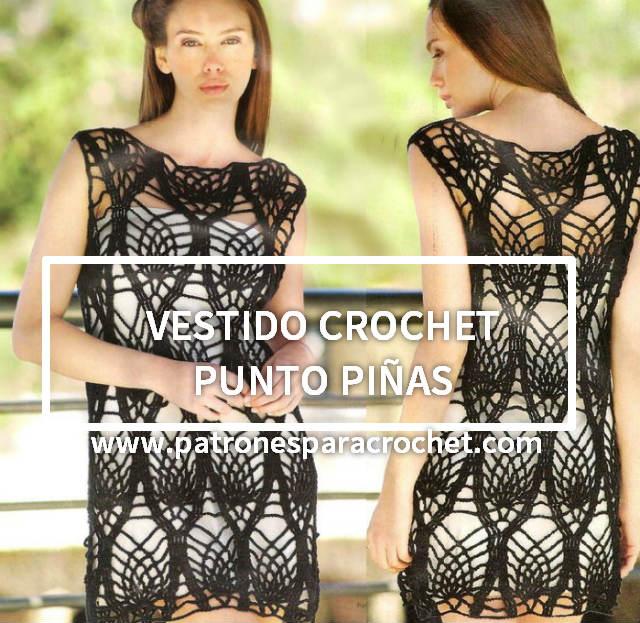 Vestido crochet punto piñas / patrones | Patrones para Crochet