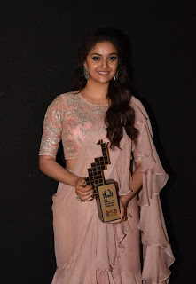 Keerthy Suresh in Saree with Cute and Lovely Smile with Chubby Cheeks at IFFI in GOA 2