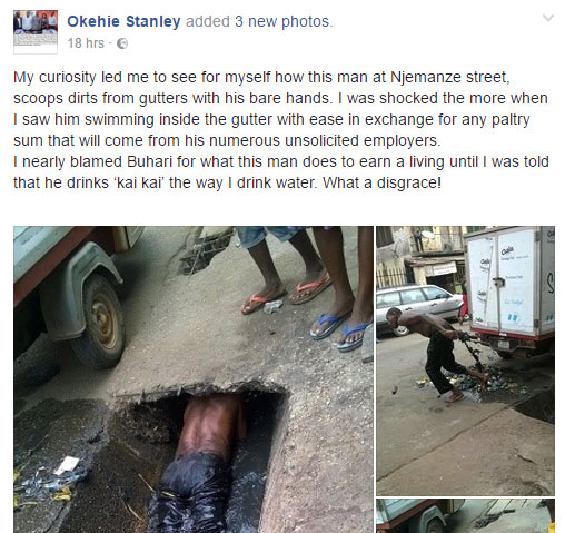 Man scoops dirt, swims in dirty drainage for cash