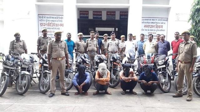 चोरी की 13 मोटरसाइकिल सहित चार वाहन चोर गिरफ्तार