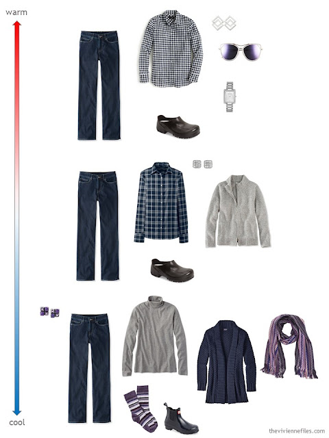 3 ways to wear dark navy jeans for changing weather