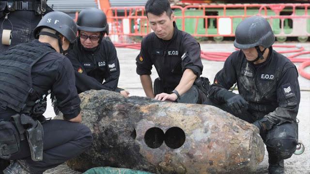Desactivan una bomba de la II Guerra Mundial en Hong Kong