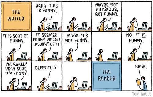 Meme sobre las distancias entre el escritor y el lector