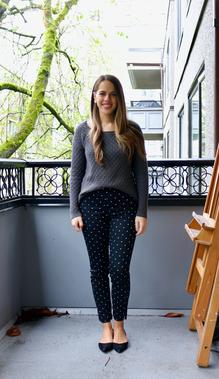 Jules in Flats - High Rise Skinny Ankle Pants with Knit Sweater (Business Casual Spring Workwear on a Budget)