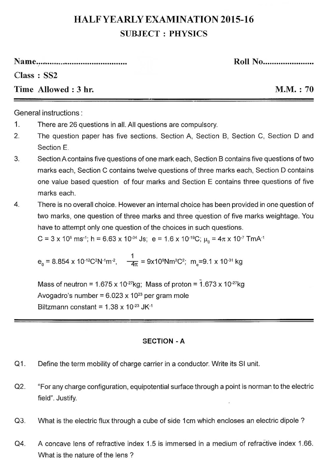Physics Sample Paper Class 11 Half Yearly