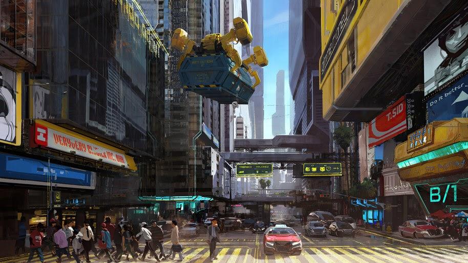 Cyberpunk 2077, City, Street, Buildings, 4K, #3.2257