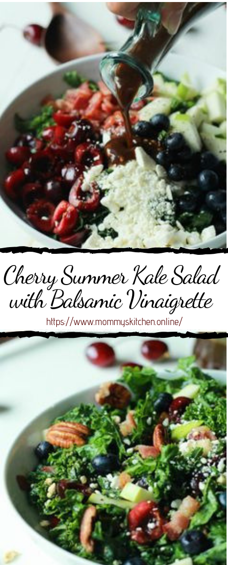 Cherry Summer Kale Salad with Balsamic Vinaigrette #vegan #recipevegetarian