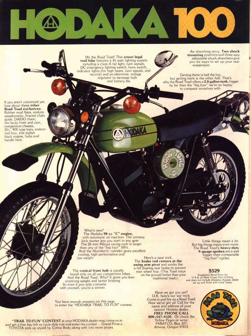 hodaka motorcycle magazine ads sales classic ad adverts brochures honda motorcycles motorbikes road decals bike advertisement motoblogn modern dirt toad