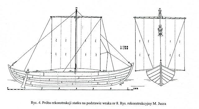 Rycina Fundacji Nauki Polskiej - łódź wczesnośredniowieczna z Wolina, wrak VIII