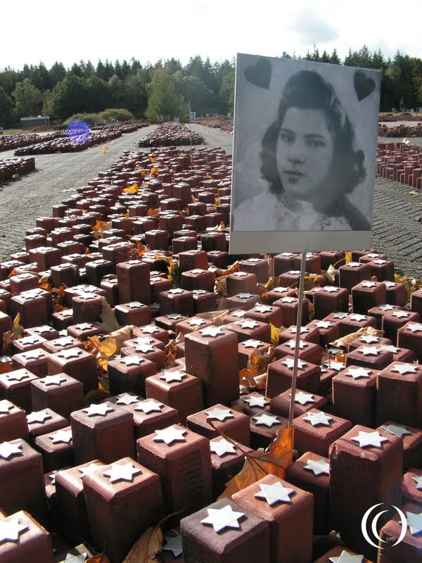 A view of the square with memorial stones for the victims of Camp Westerbork, the Netherlands