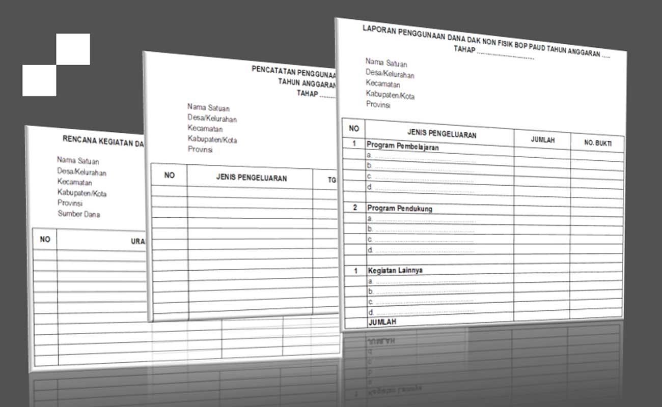 Download Format Lampiran Sarana Prasarana BOP PAUD Khusus Non Fisik