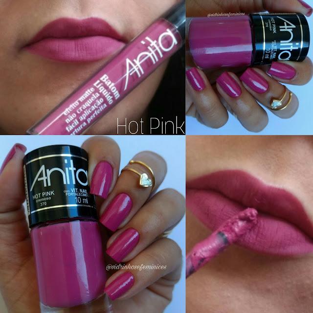 batom líquido anita efeito matte Hot Pink e esmalte hot pink