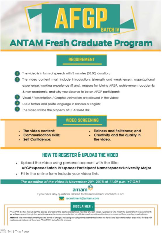 Terbaru PT Antam Tbk (ANTAM Fresh Graduate Program)