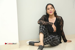 Actress Punarnavi Bhupalam Stills in Black Dress at Pittagoda Press Meet  0182.JPG