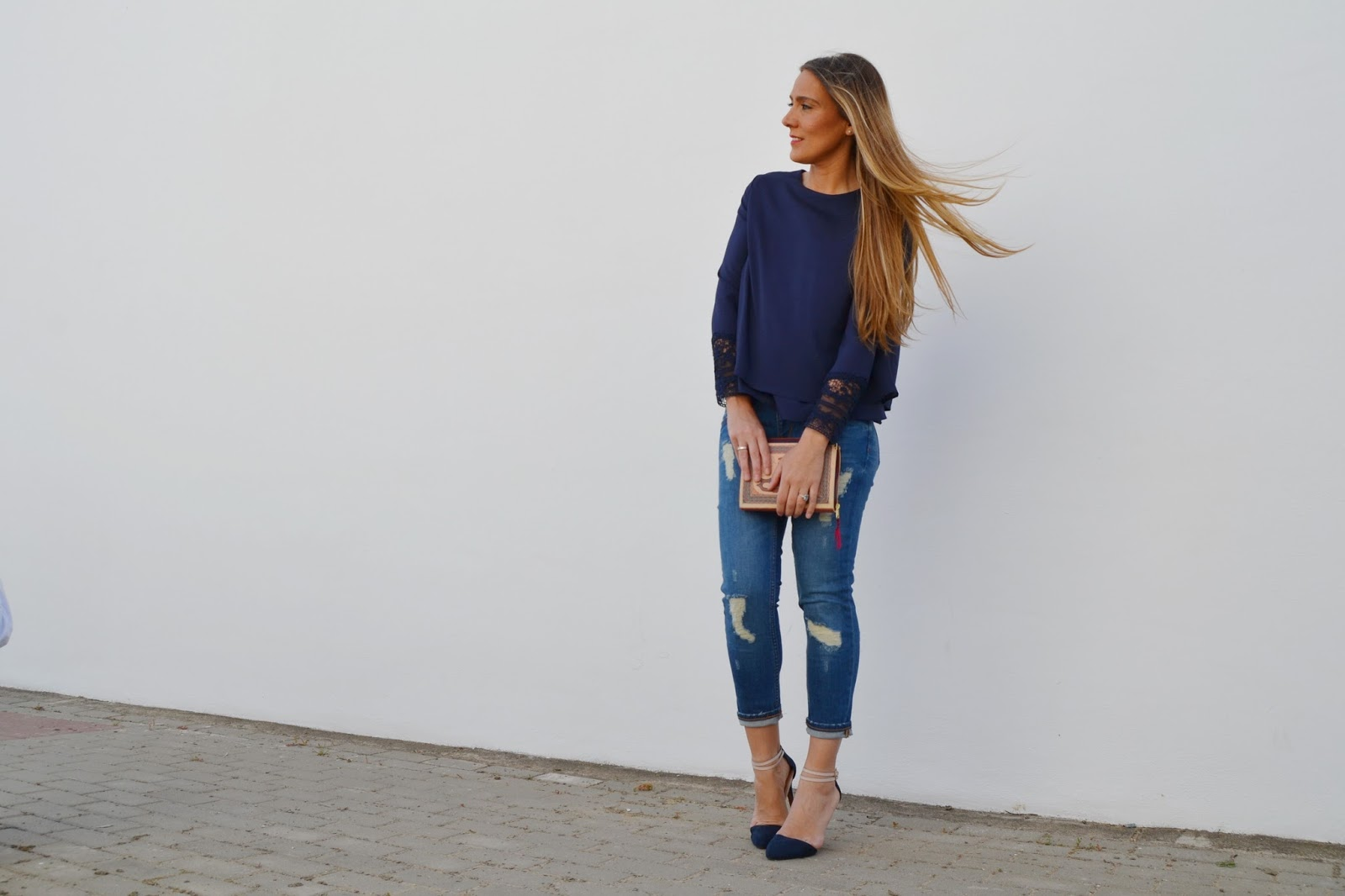 fantastic outfit tacones azul marino o