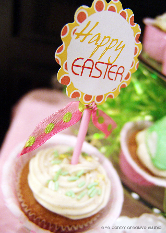 happy easter cupcake topper, easter cupcake ideas, easter party