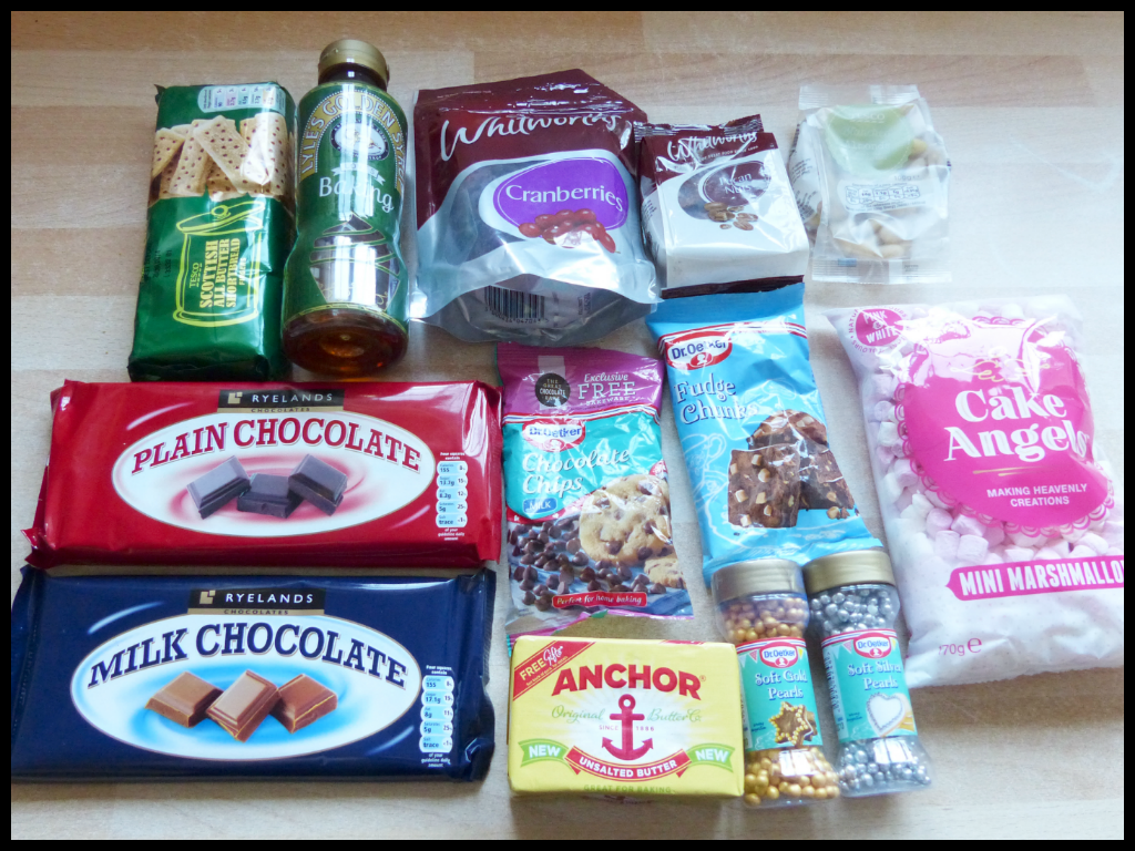 Ingredients for Rocky Holiday Road - the best Rocky Road recipe for Christmas!