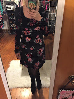 floral velvet dress outfit of the day
