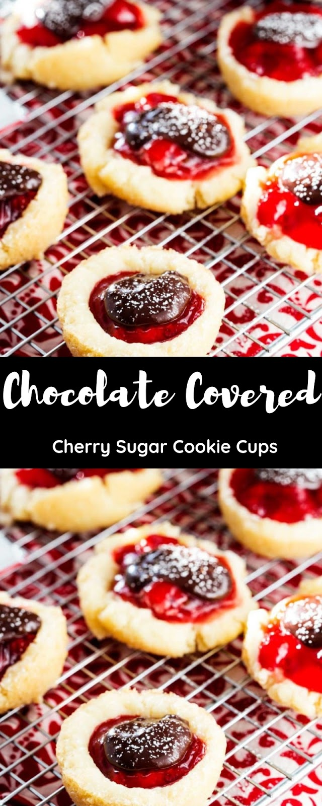 Chocolate Covered Cherry Sugar Cookie Cups