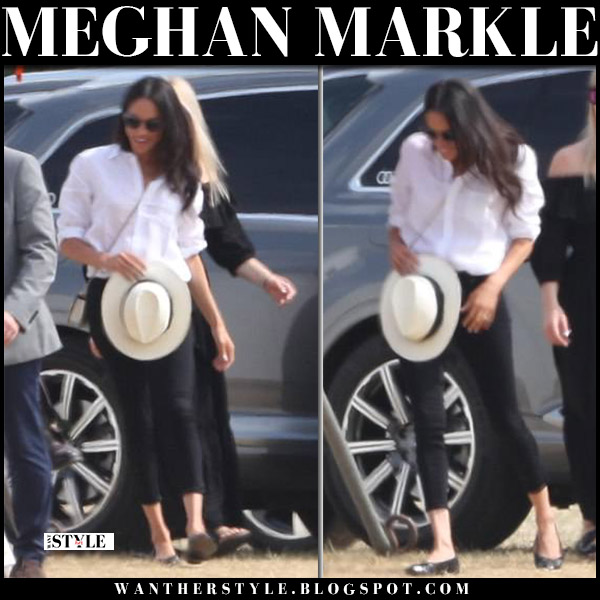 Meghan Markle in white shirt j.crew and black skinny jeans everlane royal family fashion july 1