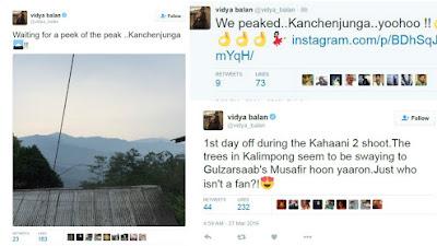 अभिनेत्री विदया बालन का ट्वीट कहानी 2 की शूटिंग के लिए