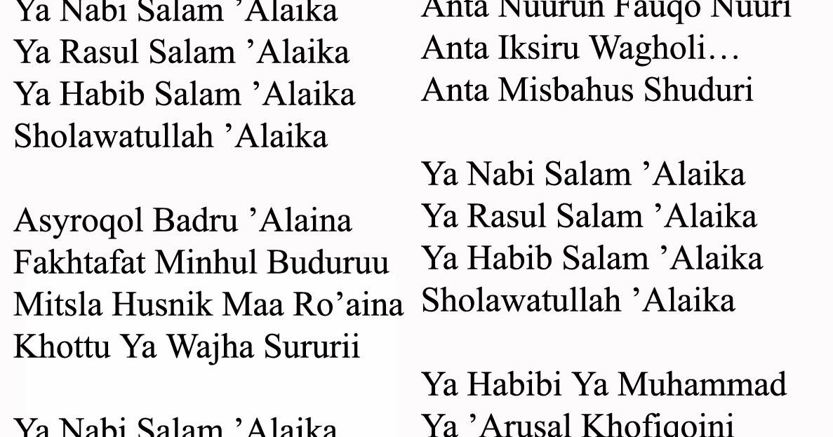 Lirik Shalawat Ya Nabi Salam Alaika Lengkap Habib