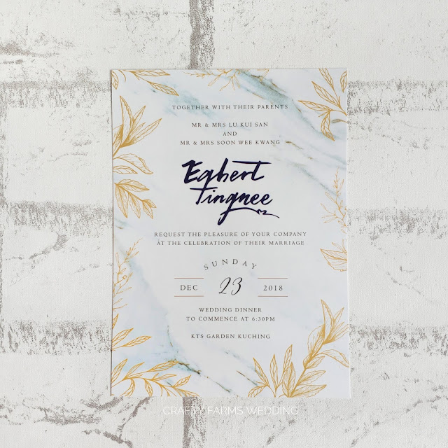 Marble Blue and Gold Themed Wedding Invitation Cards Malaysia