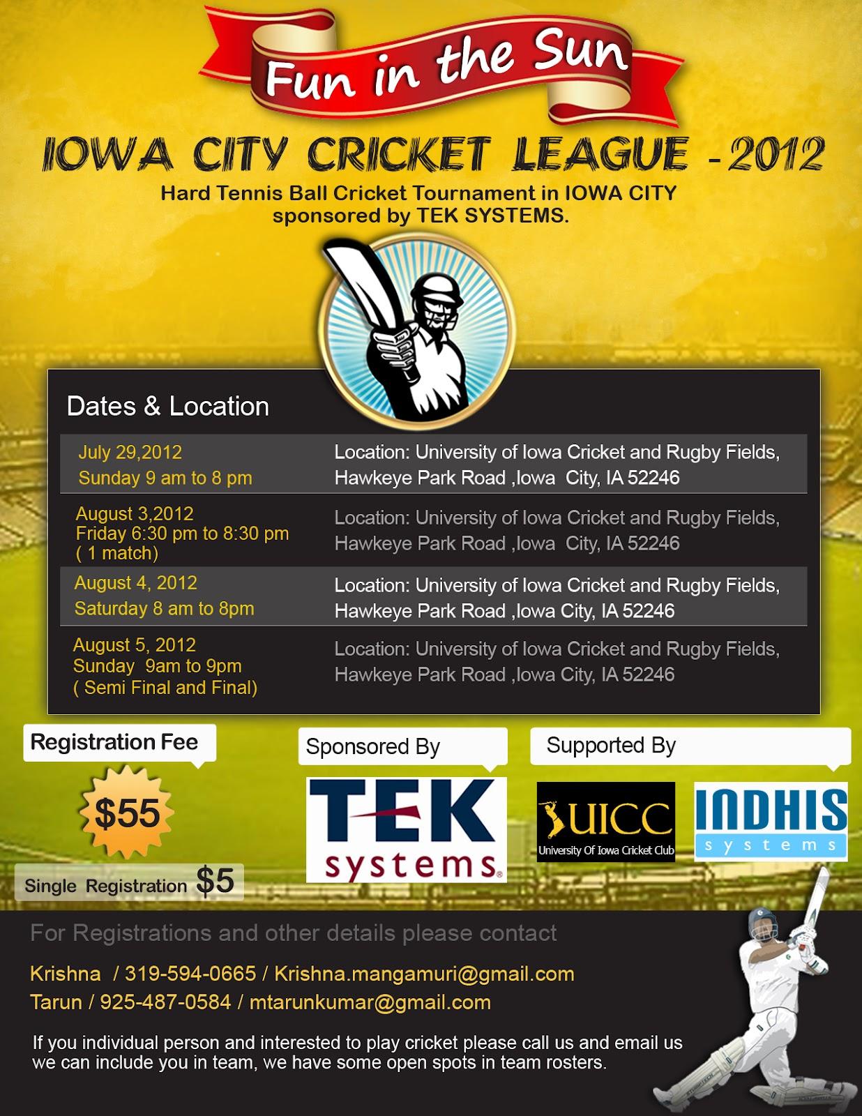 Iowa City Cricket League 2012: Hard Tennis Ball Cricket