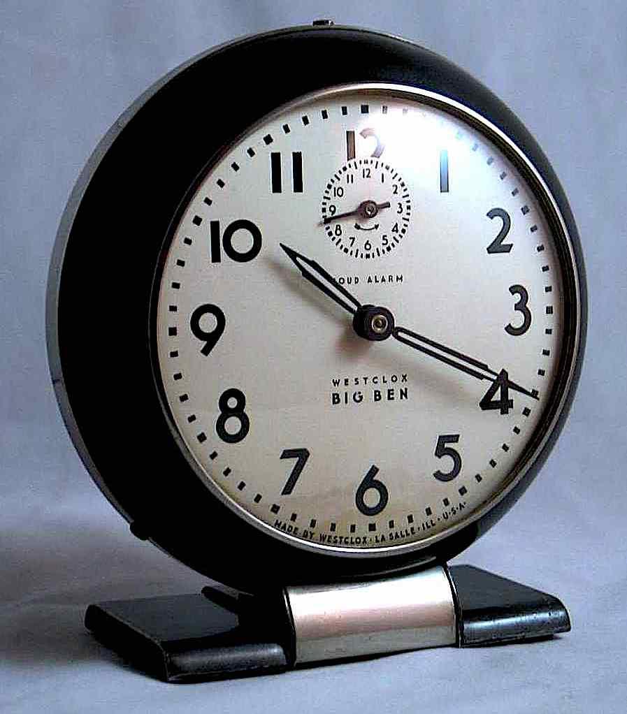 a 1940s Henri Dreyfuss Big Ben black table clock by Westclox in a photograph