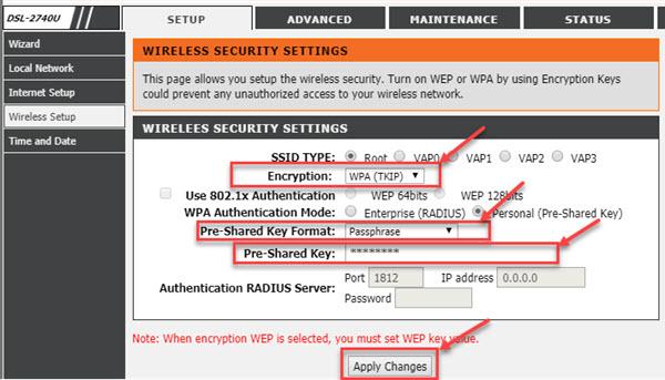 dlink dsl-2740u, WIFI settings, WIreless Security