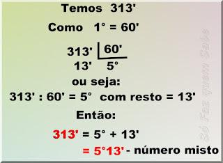 Ilustração mostrando a transformação de 313' (trezentos e treze minutos) para um número miste de graus e minutos