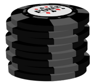 grey on black poker chip stack