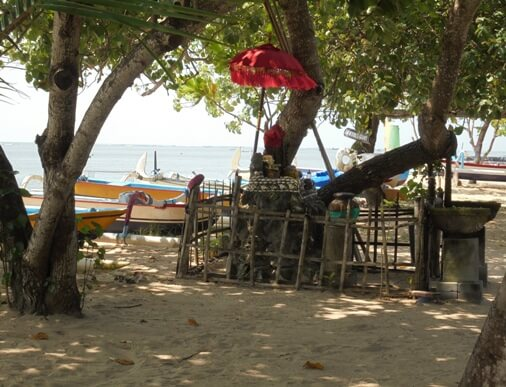 The traditional line-fishing boats trace of piece of occupation upward on this beach nether the greenish canopy BeachesinBali: Karang Beach Sanur in Denpasar, Bali