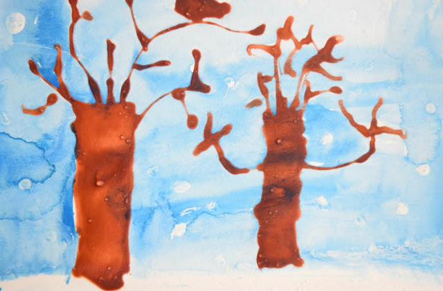 Winter Tree Kids Craft with Glue and Watercolor Resist