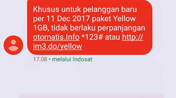 Kabar buruk untuk pengguna paket Yellow IM3