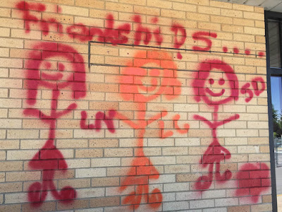photo of goodbye graffiti on the CPD building