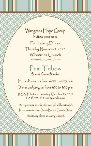 Sample program for fundraiser dinner.