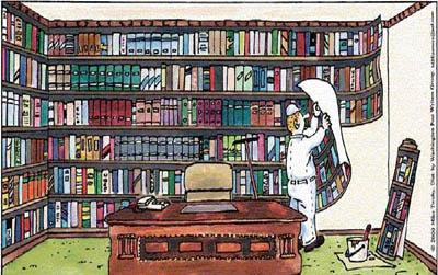 cartoon, dessin humoristique d'un papier-peint imitant une bibliothèque
