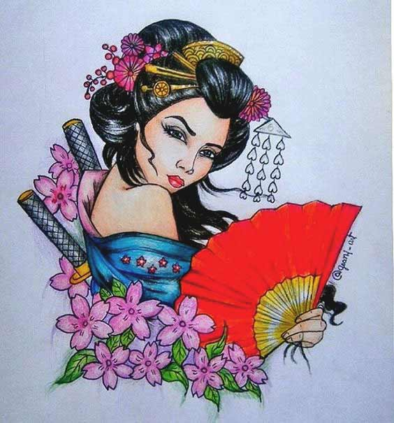 Geisha tattoo designs drawing for upper back