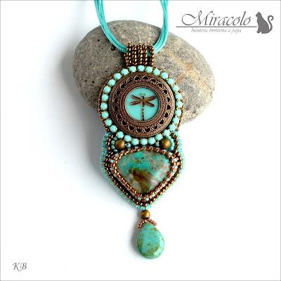 wisiorek z chryzokolą, chrysocolla pendant, miracolo