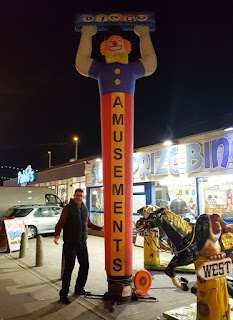 An inflatable clown advertising bingo at an amusement arcade in Blackpool